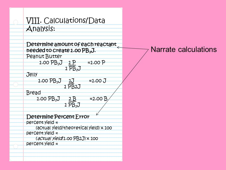Narrate calculations VIII. Calculations/Data Analysis: