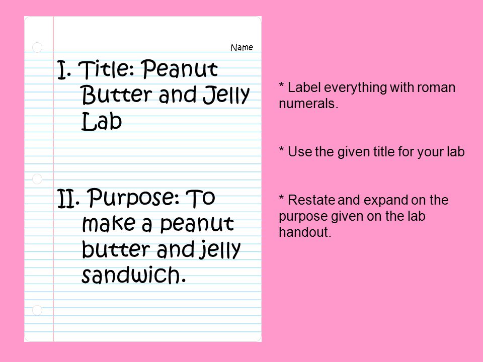 I. Title: Peanut Butter and Jelly Lab