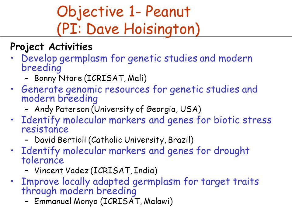 Objective 1- Peanut (PI: Dave Hoisington) Project Activities