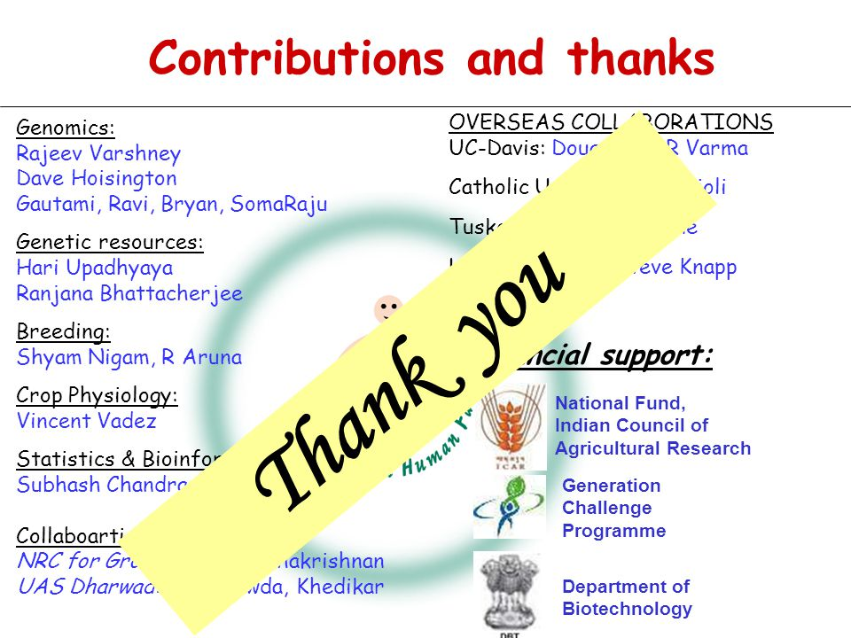 Thank you Contributions and thanks Financial support: