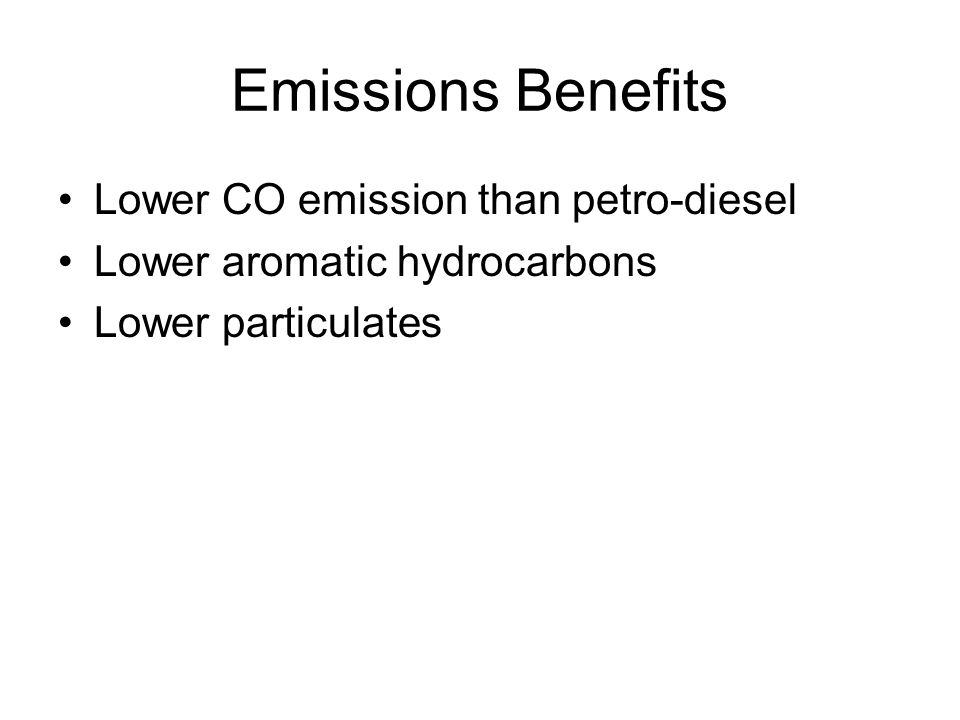 Emissions Benefits Lower CO emission than petro-diesel
