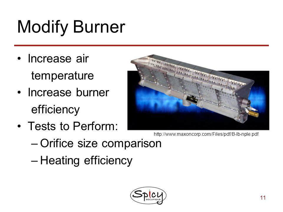 Modify Burner Increase air temperature Increase burner efficiency
