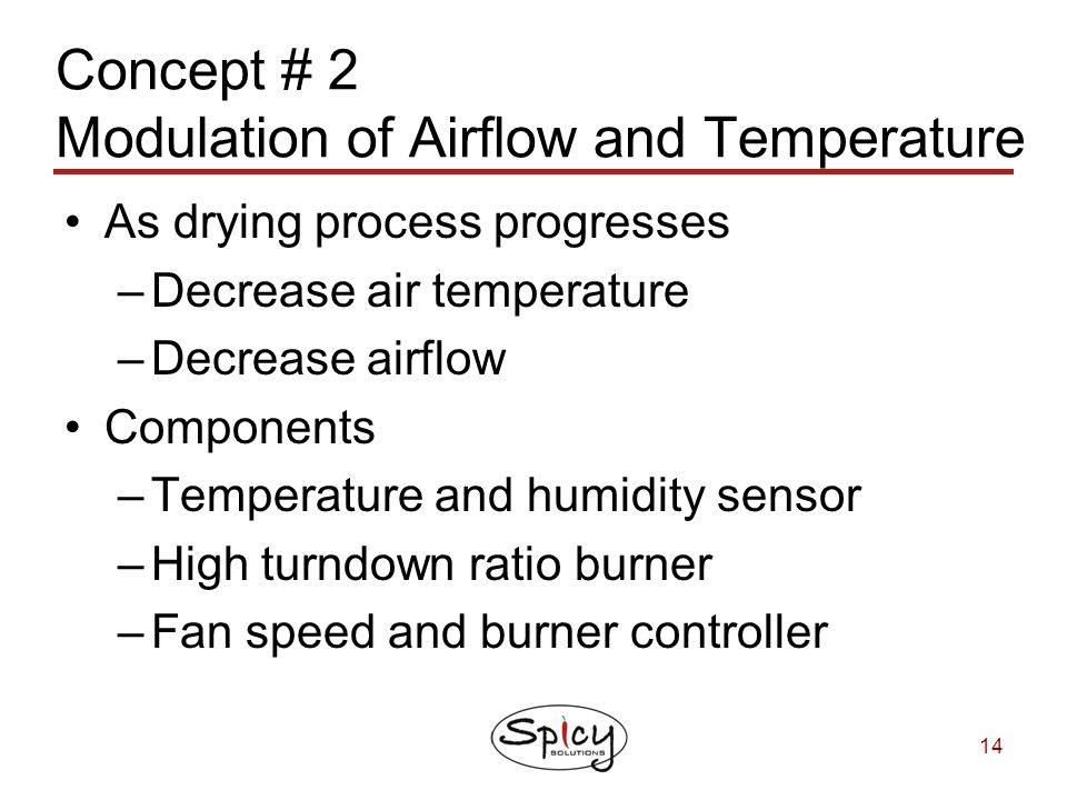 Concept # 2 Modulation of Airflow and Temperature