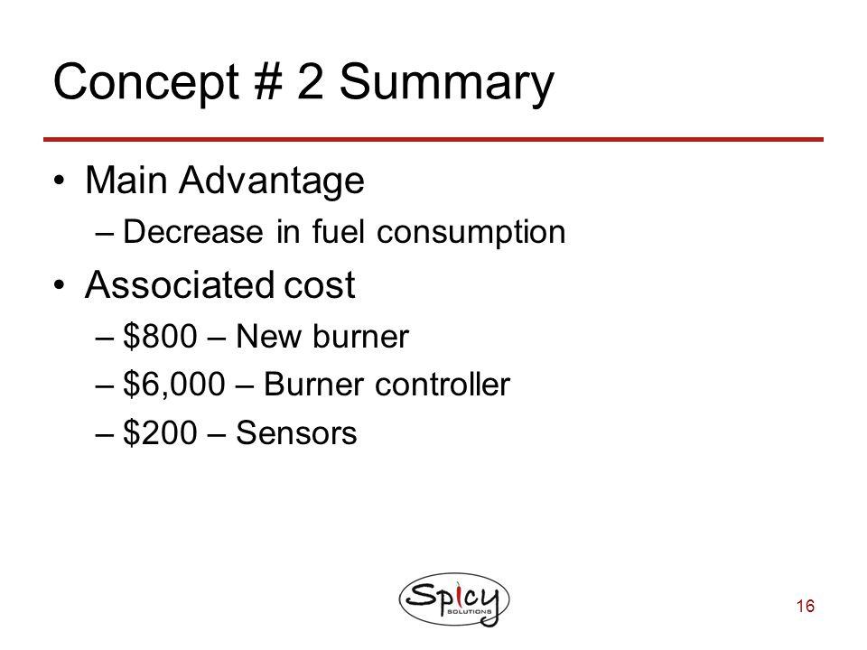 Concept # 2 Summary Main Advantage Associated cost