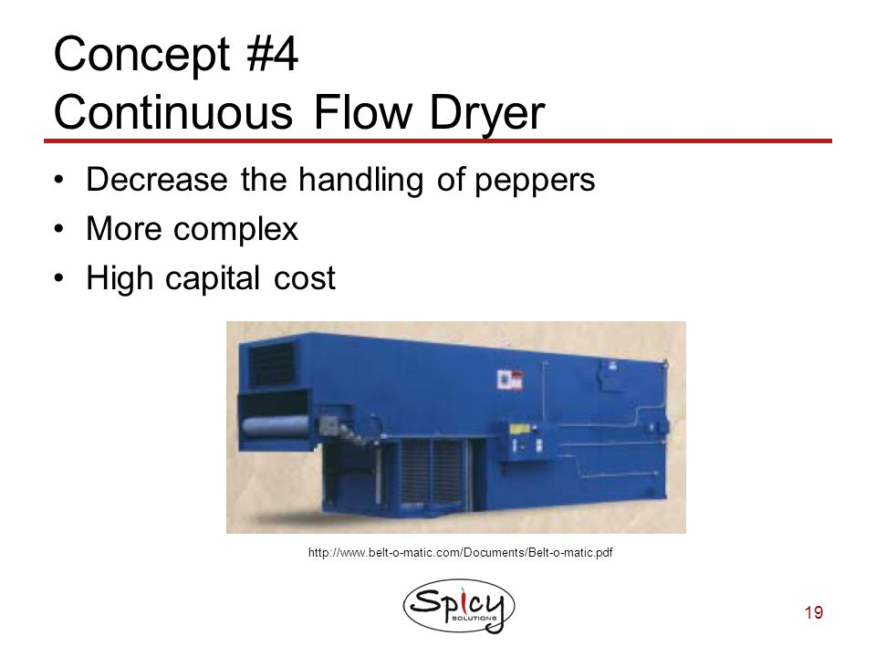 Concept #4 Continuous Flow Dryer