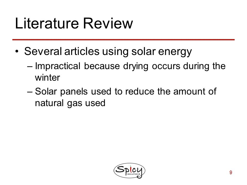 Literature Review Several articles using solar energy