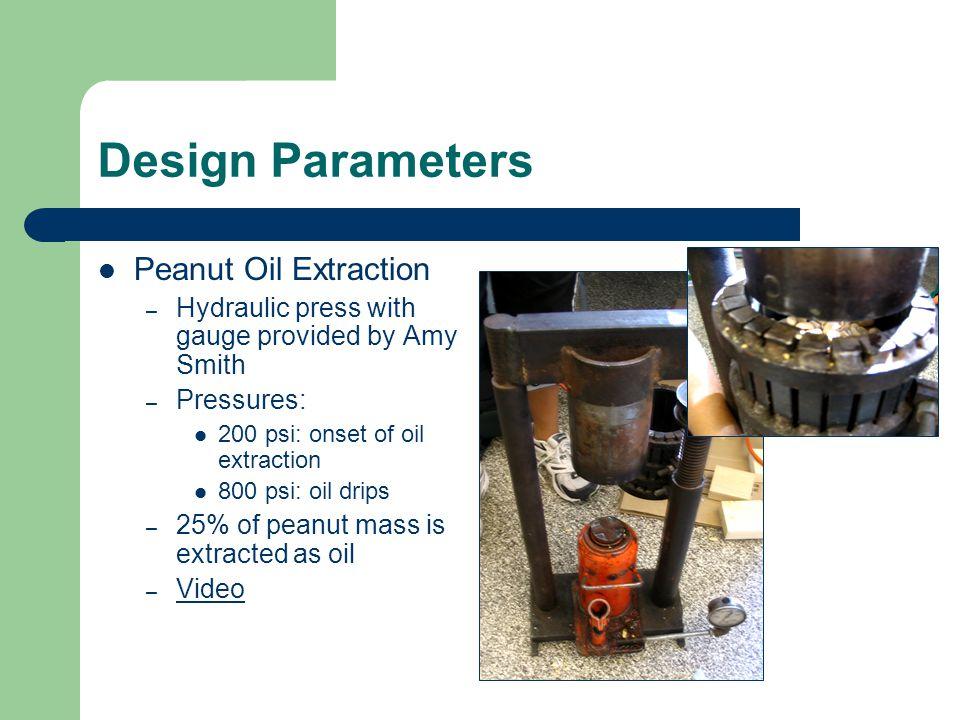 Design Parameters Peanut Oil Extraction