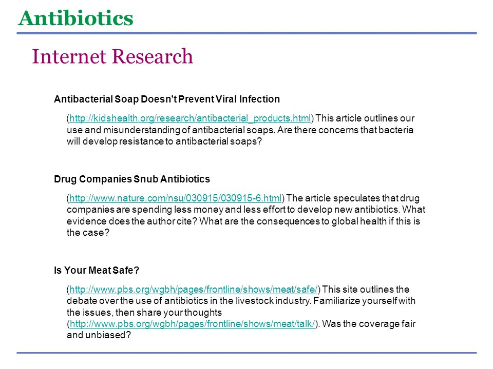 Antibiotics Internet Research