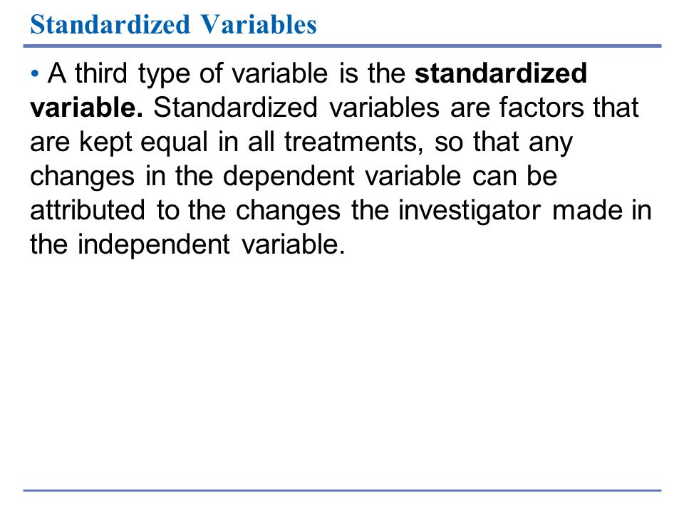 Standardized Variables