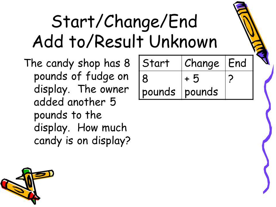 Start/Change/End Add to/Result Unknown