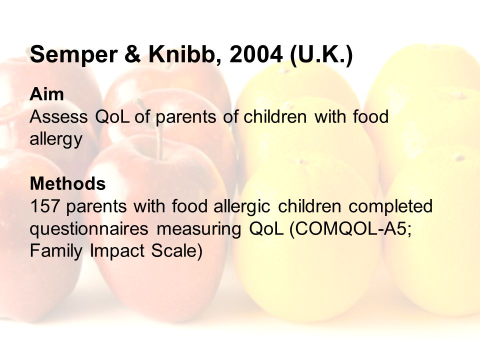 Semper & Knibb, 2004 (U.K.) Aim. Assess QoL of parents of children with food allergy. Methods.