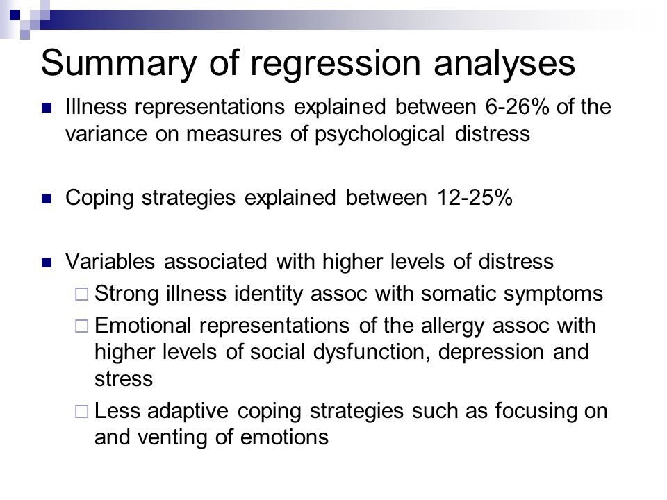 Summary of regression analyses