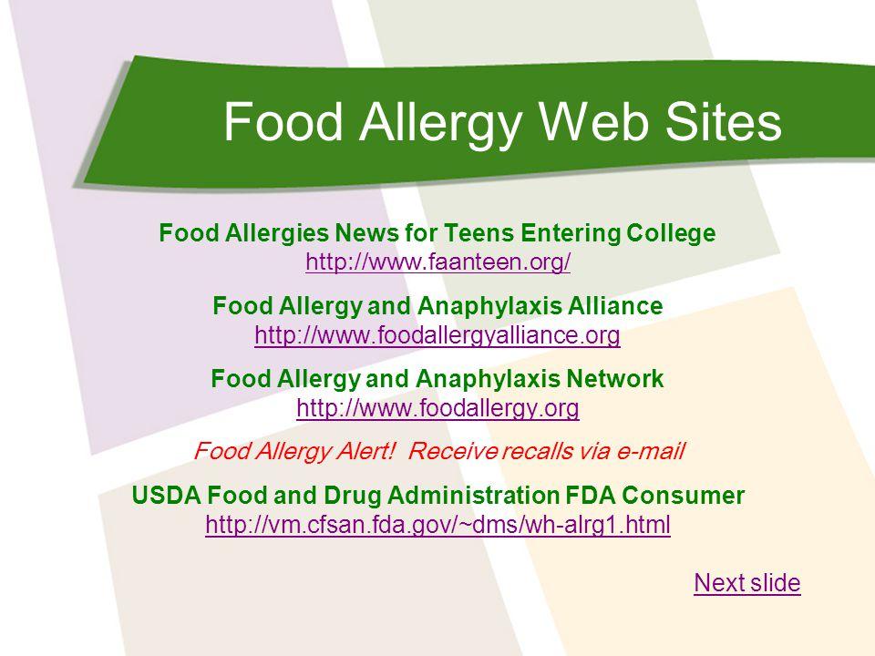 Food Allergy Web Sites Food Allergies News for Teens Entering College