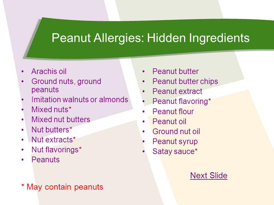 Peanut Allergies: Hidden Ingredients