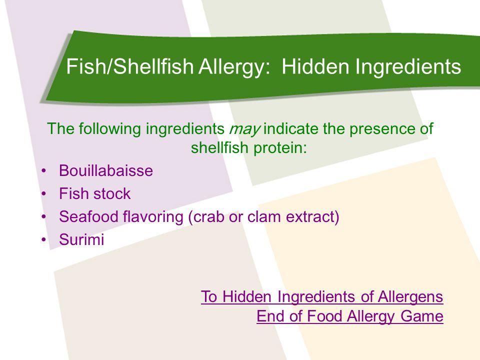 Fish/Shellfish Allergy: Hidden Ingredients