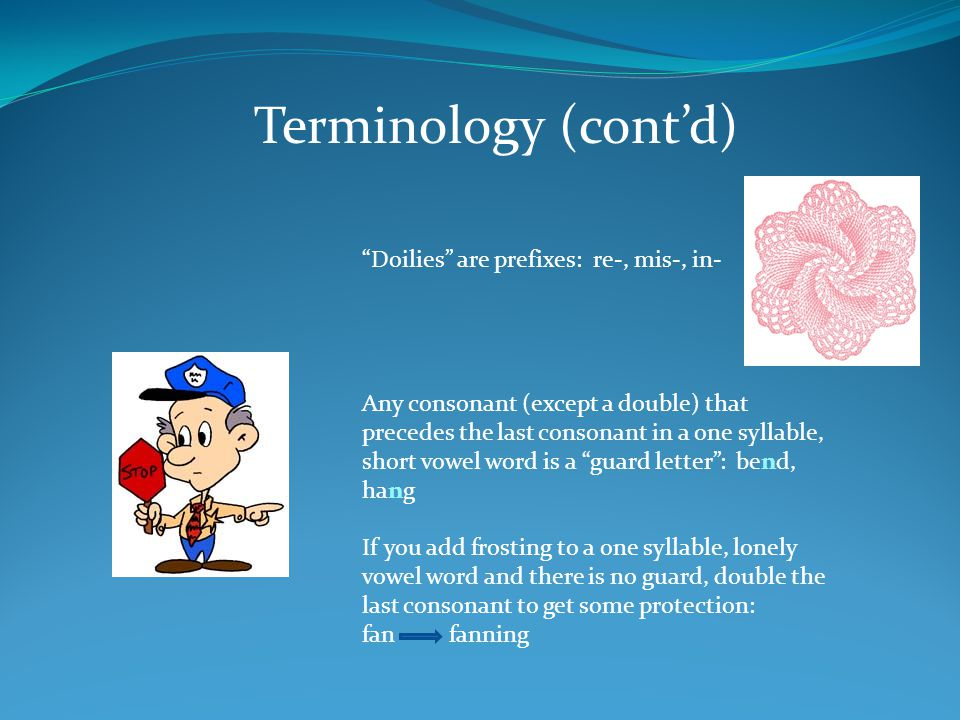 Terminology (cont'd) Doilies are prefixes: re-, mis-, in-