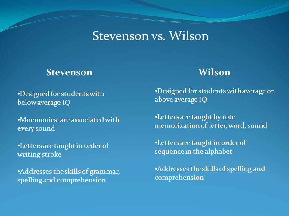Stevenson vs. Wilson Wilson Stevenson