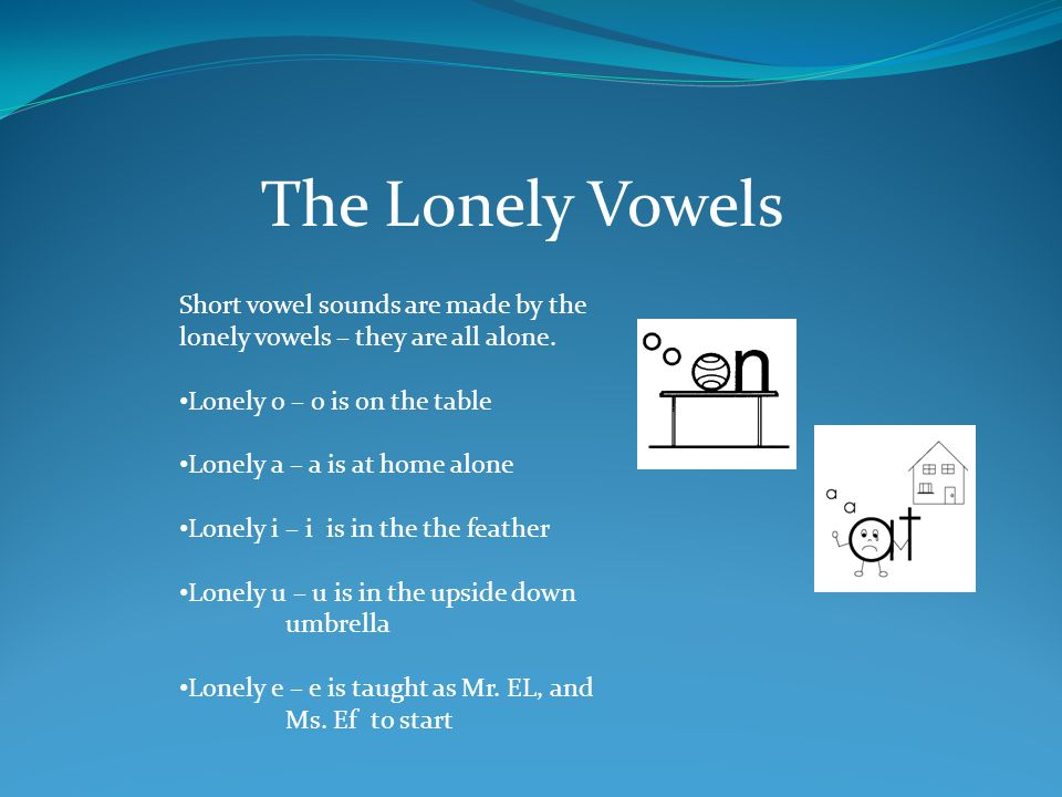 The Lonely Vowels Short vowel sounds are made by the lonely vowels – they are all alone. Lonely o – o is on the table.