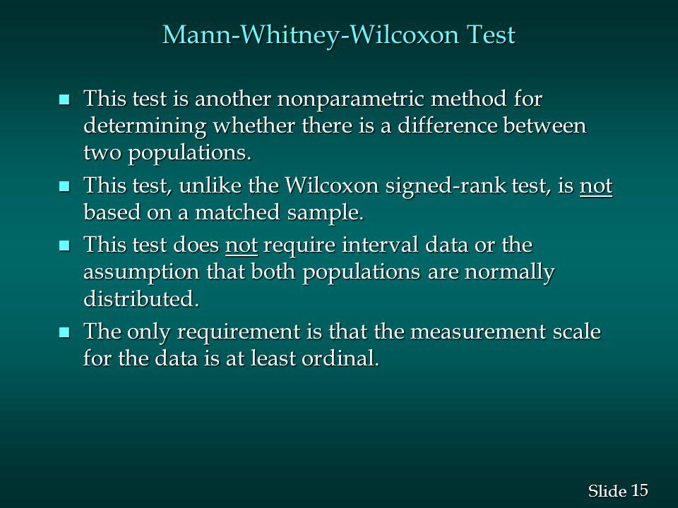 Mann-Whitney-Wilcoxon Test
