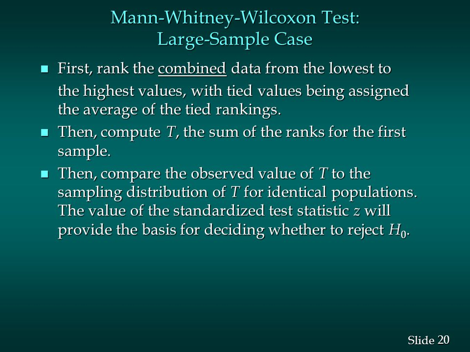Mann-Whitney-Wilcoxon Test: Large-Sample Case