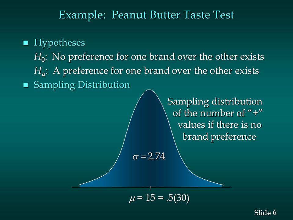 Example: Peanut Butter Taste Test