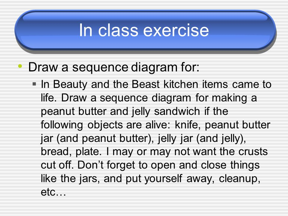 In class exercise Draw a sequence diagram for: