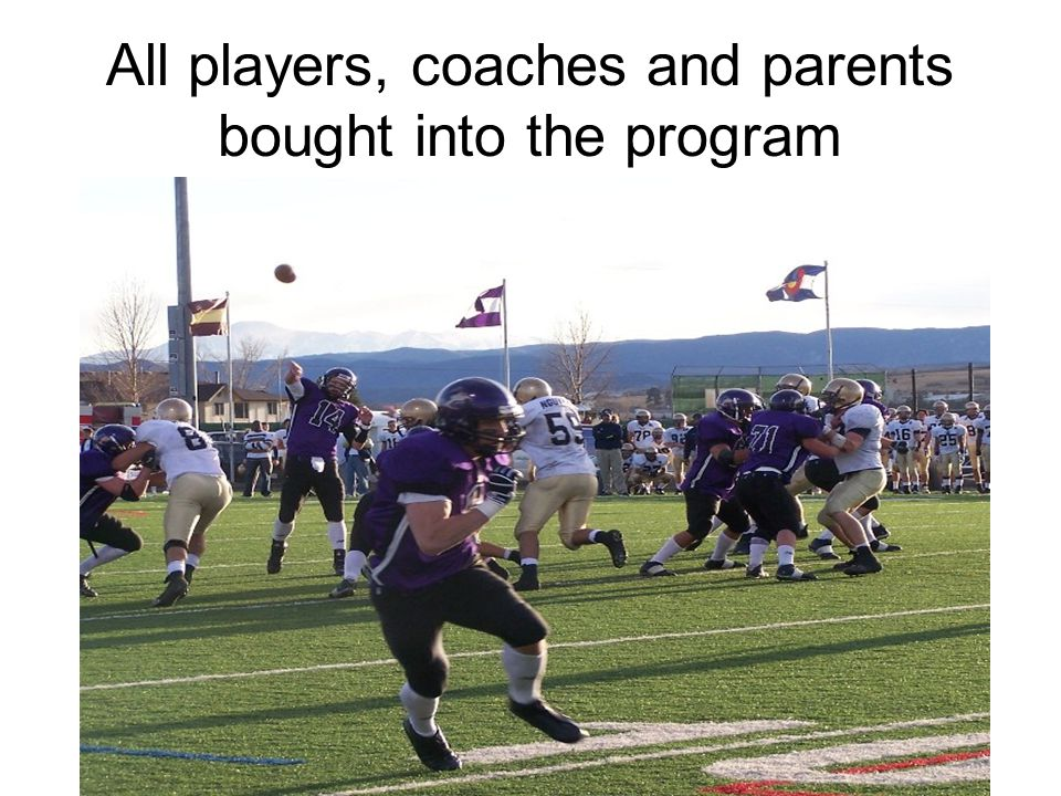 All players, coaches and parents bought into the program
