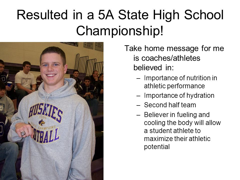 Resulted in a 5A State High School Championship!