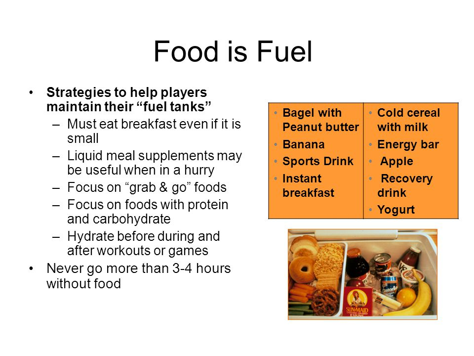 Food is Fuel Never go more than 3-4 hours without food