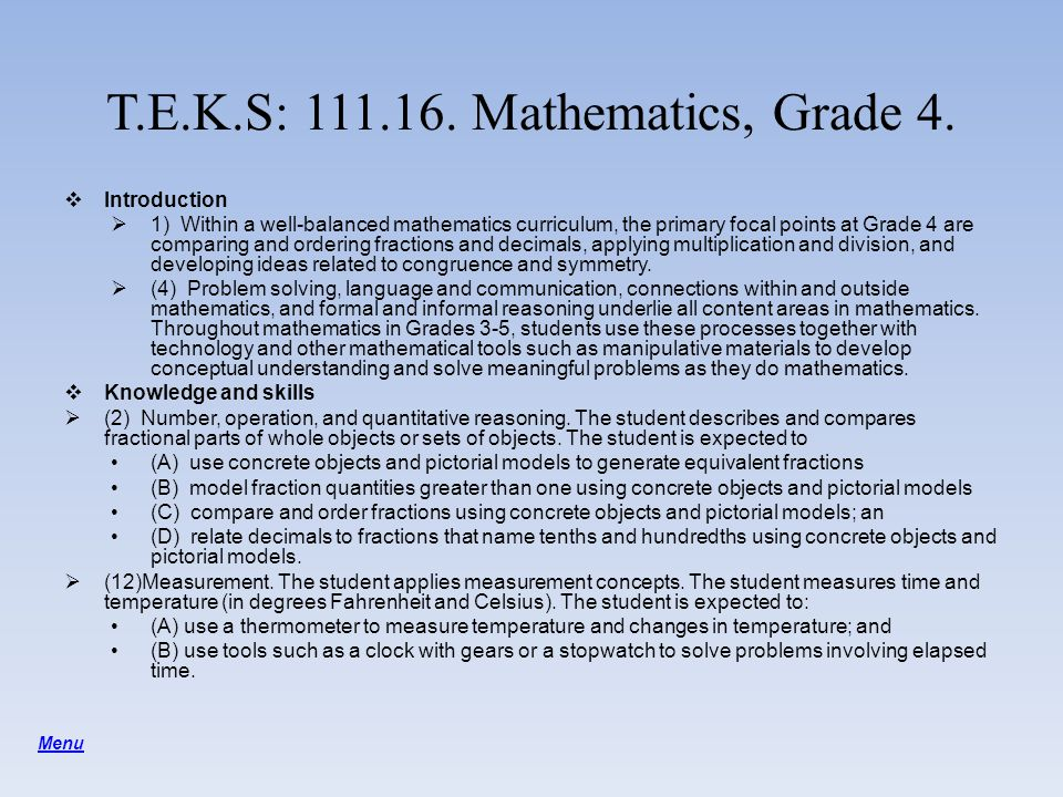 T.E.K.S: 111.16. Mathematics, Grade 4.
