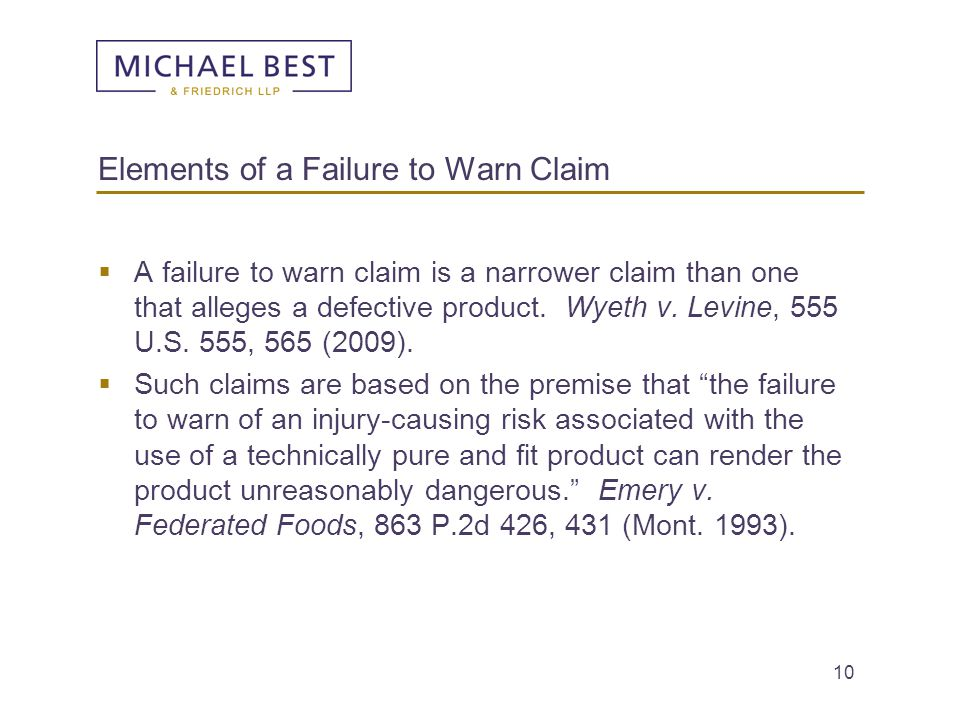 Elements of a Failure to Warn Claim