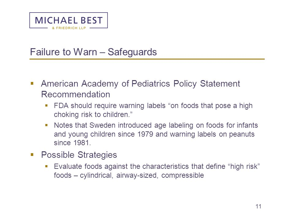 Failure to Warn – Safeguards
