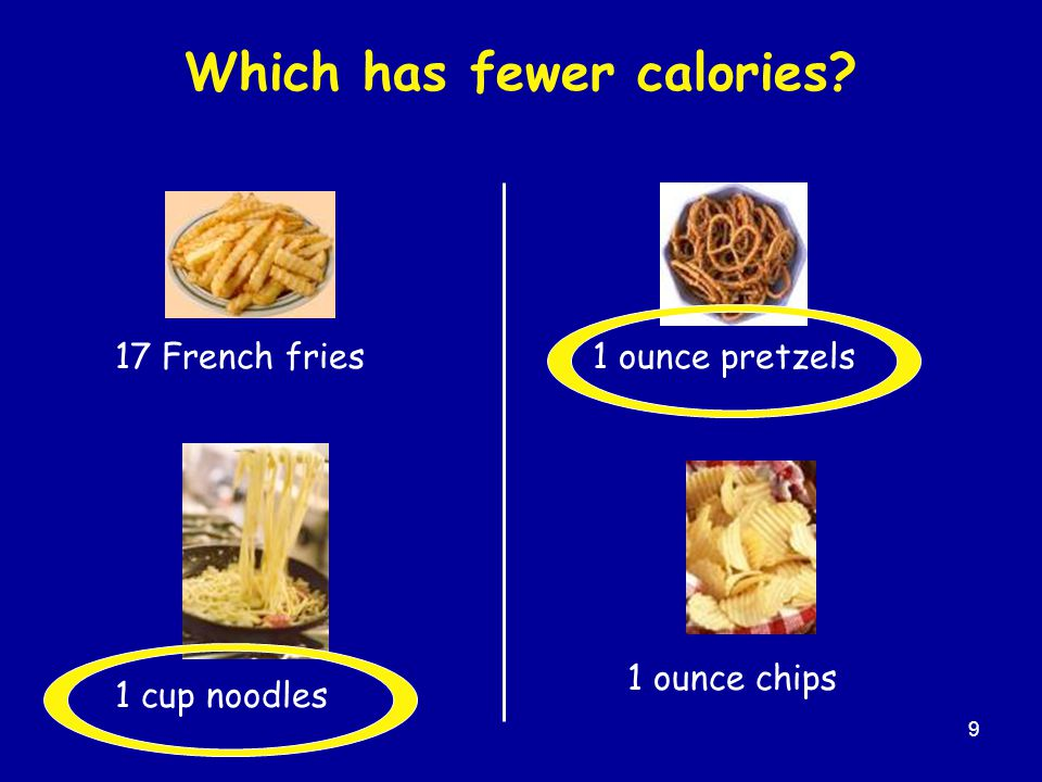 Which has fewer calories