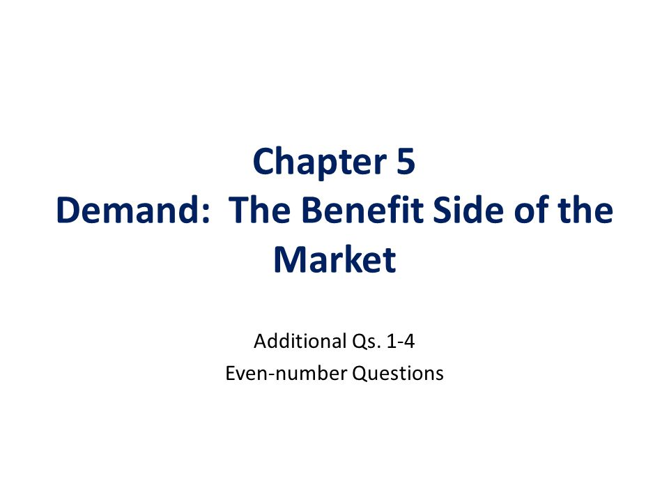 Chapter 5 Demand: The Benefit Side of the Market