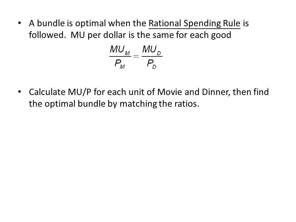 A bundle is optimal when the Rational Spending Rule is followed