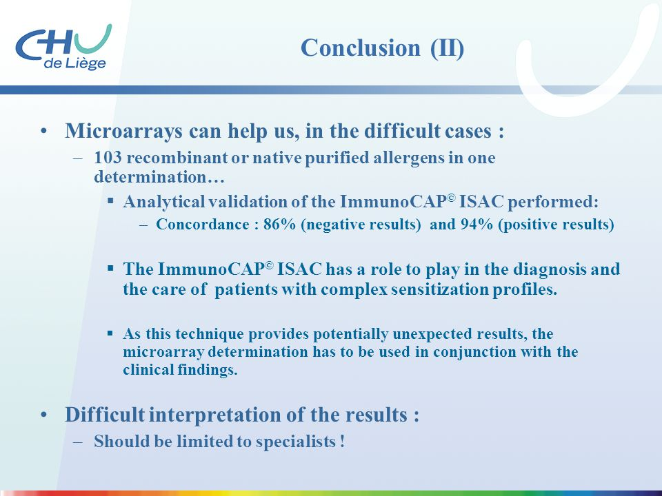 Conclusion (II) Microarrays can help us, in the difficult cases :
