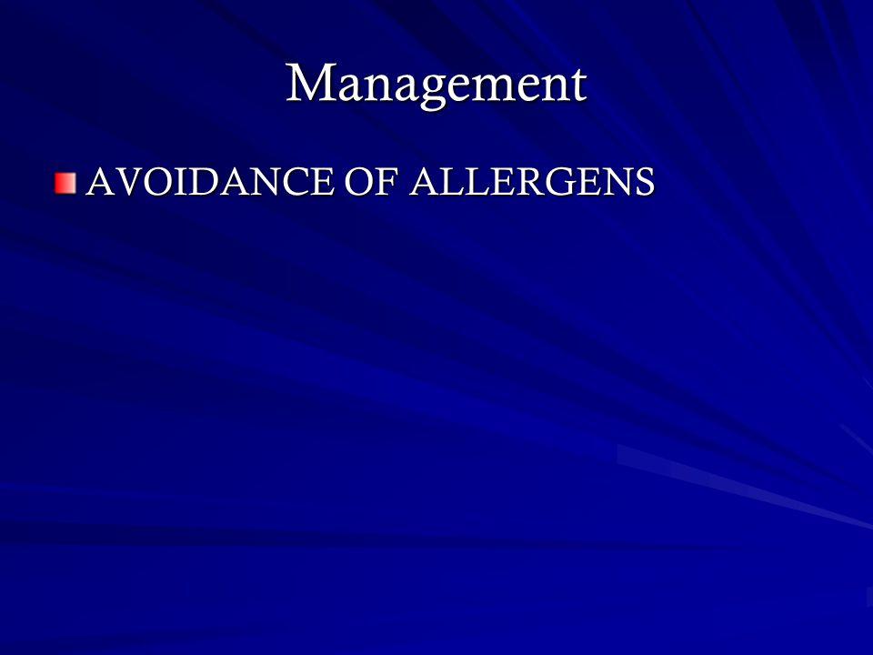 Management AVOIDANCE OF ALLERGENS