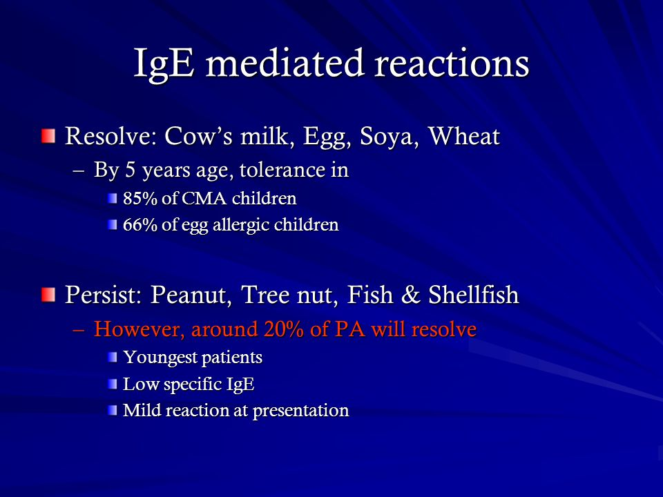 IgE mediated reactions