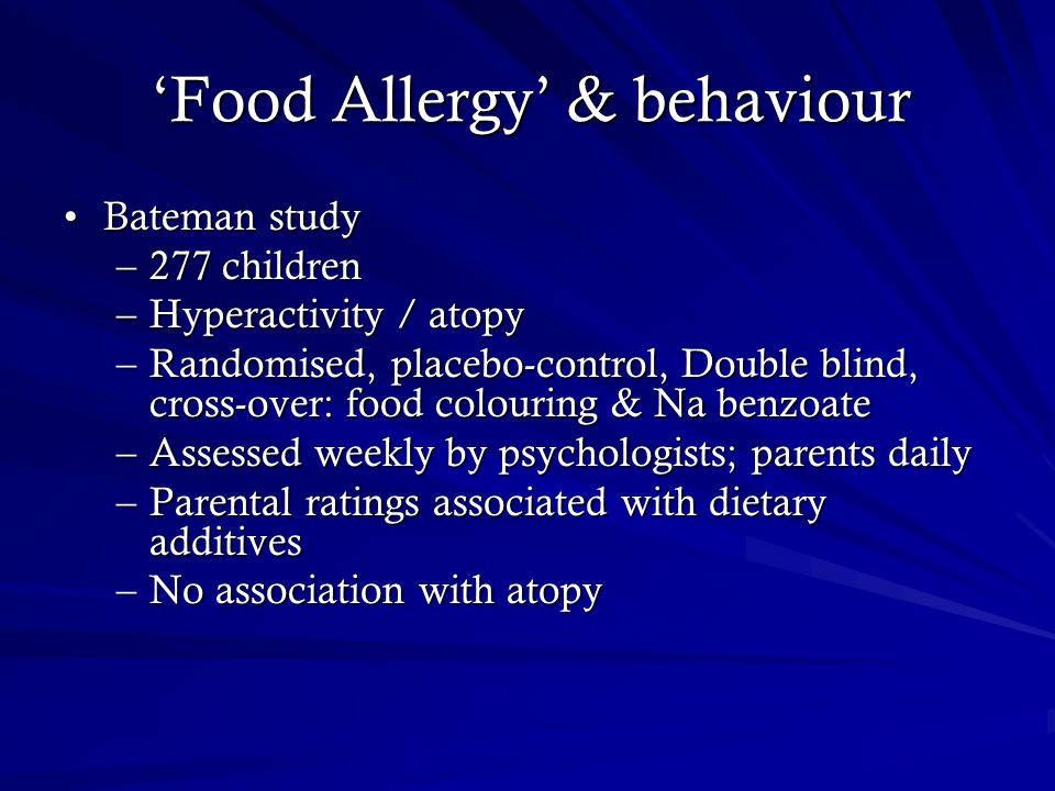 'Food Allergy' & behaviour