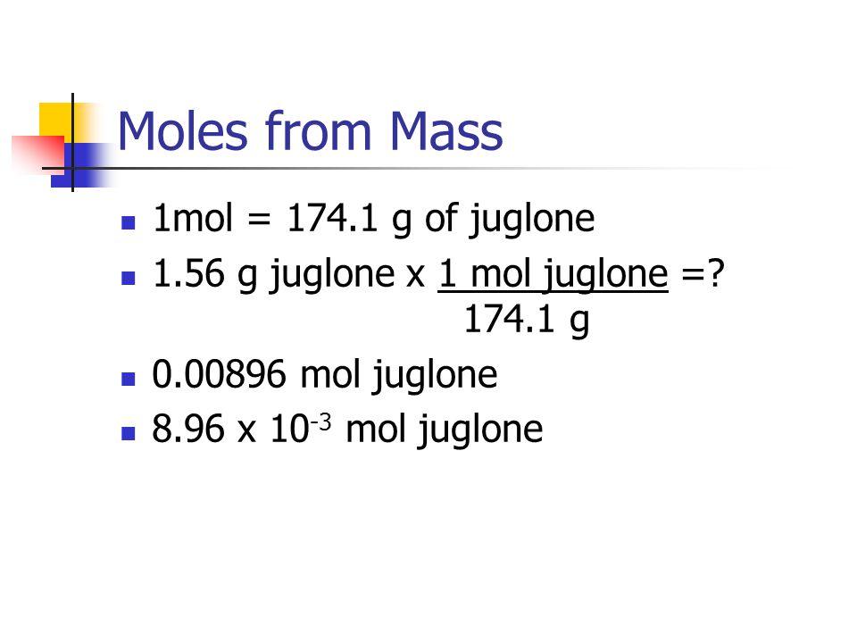 Moles from Mass 1mol = 174.1 g of juglone