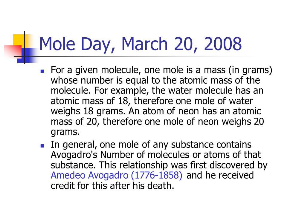 Mole Day, March 20, 2008