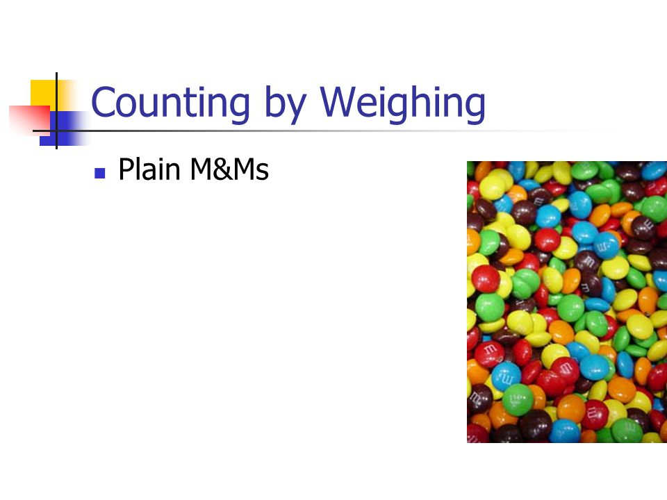Counting by Weighing Plain M&Ms