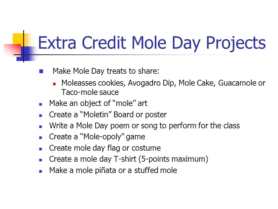 Extra Credit Mole Day Projects