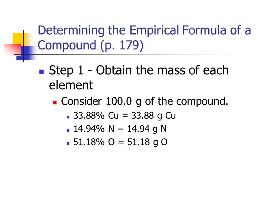 Determining the Empirical Formula of a Compound (p. 179)