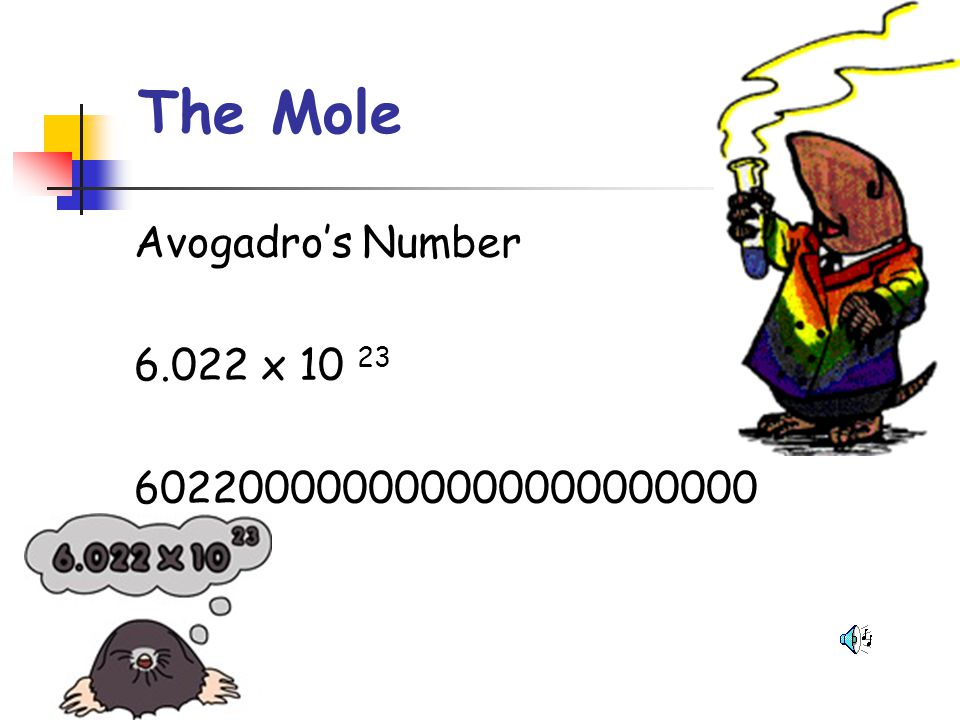 The Mole Avogadro's Number 6.022 x 10 23 602200000000000000000000