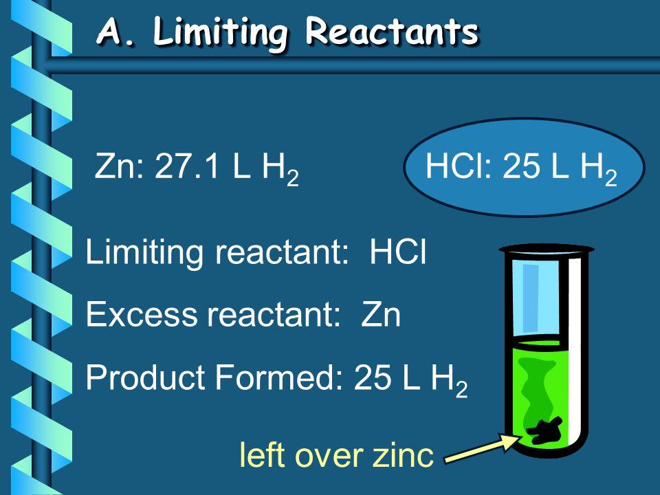 A. Limiting Reactants Zn: 27.1 L H2 HCl: 25 L H2