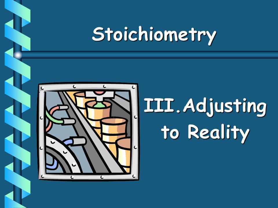 III.Adjusting to Reality