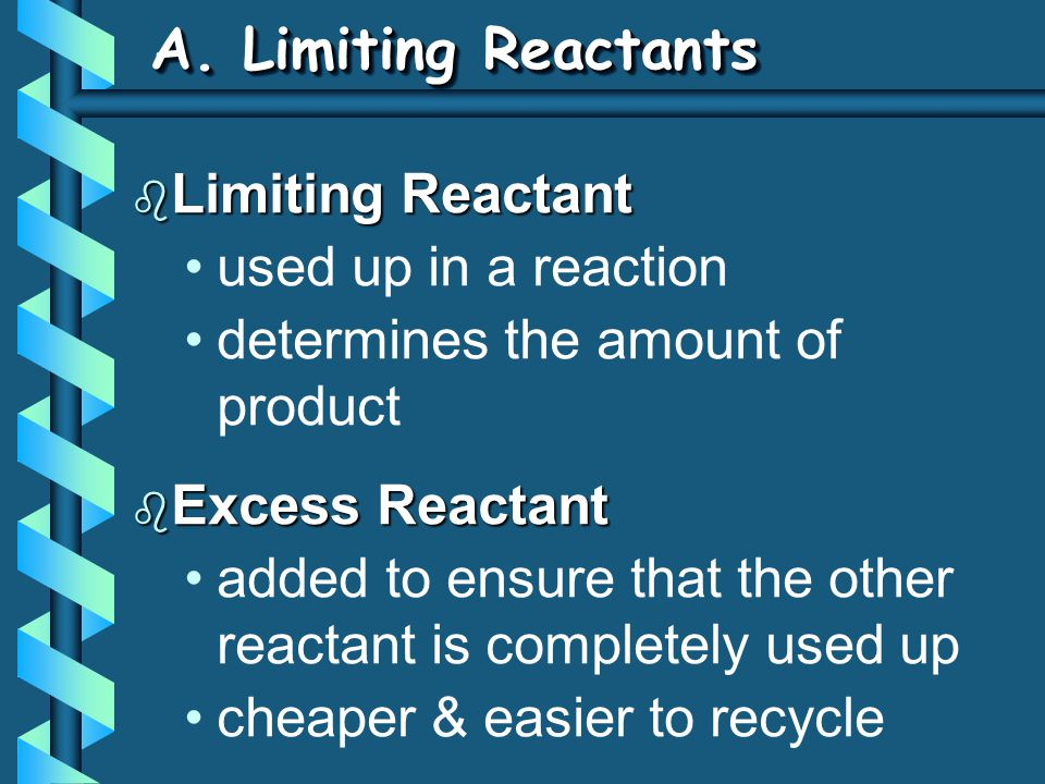A. Limiting Reactants Limiting Reactant used up in a reaction