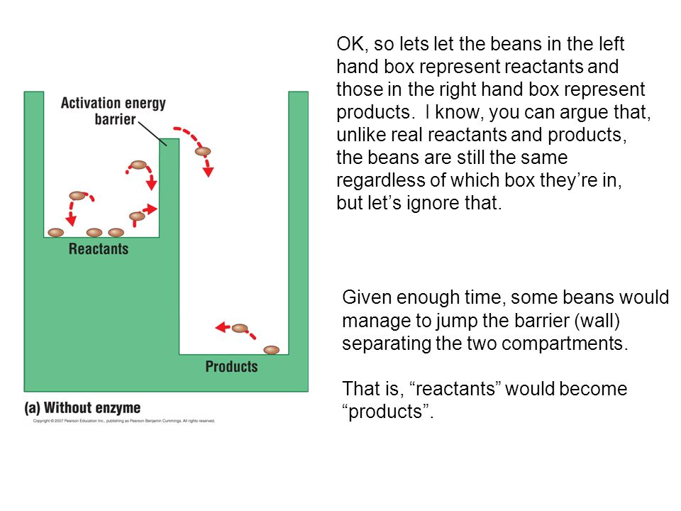 OK, so lets let the beans in the left hand box represent reactants and those in the right hand box represent products. I know, you can argue that, unlike real reactants and products, the beans are still the same regardless of which box they're in, but let's ignore that.