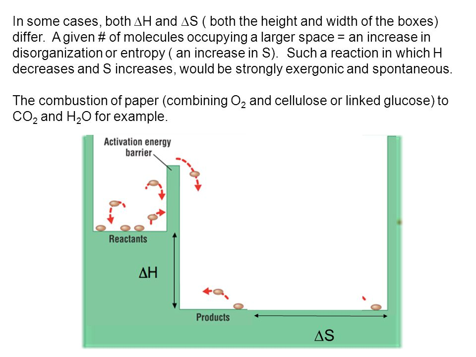 In some cases, both H and S ( both the height and width of the boxes) differ. A given # of molecules occupying a larger space = an increase in disorganization or entropy ( an increase in S). Such a reaction in which H decreases and S increases, would be strongly exergonic and spontaneous.